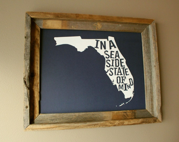 Florida In A Seaside State of Mind Map Print (Dark Blue) - Unframed