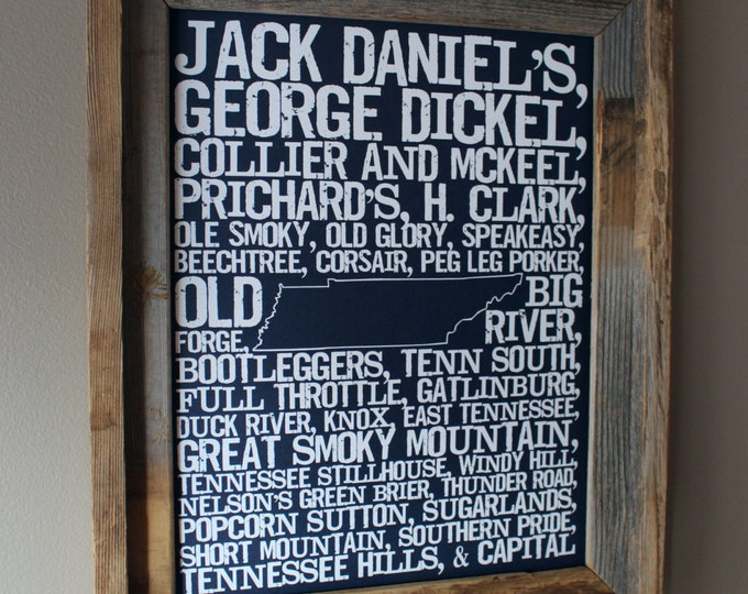 Whiskeys of Tennessee Word Map (Dark Blue) - Unframed