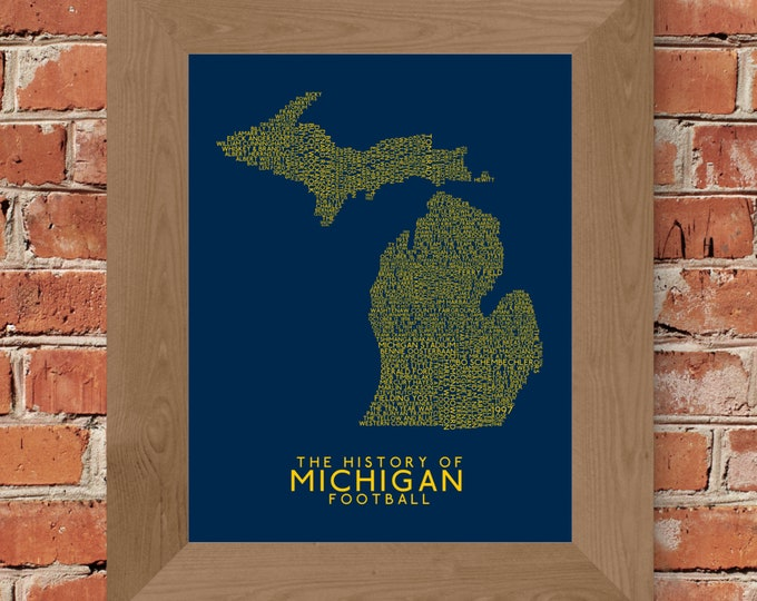 The History of Michigan Football - University of Michigan - Word Map Fine Art Print (Maize & Blue) - Unframed (Multiple Sizes)