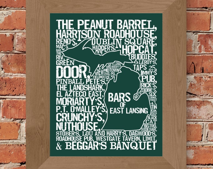 Bars of East Lansing - Michigan State University - Word Map Fine Art Print (Green) - Unframed (11x14, 22x28)