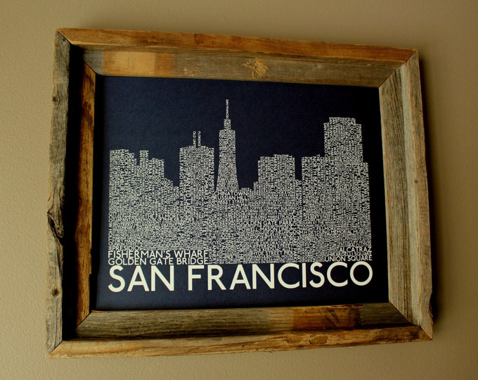 San Francisco Skyline Word Art Print (Dark Blue) - Unframed