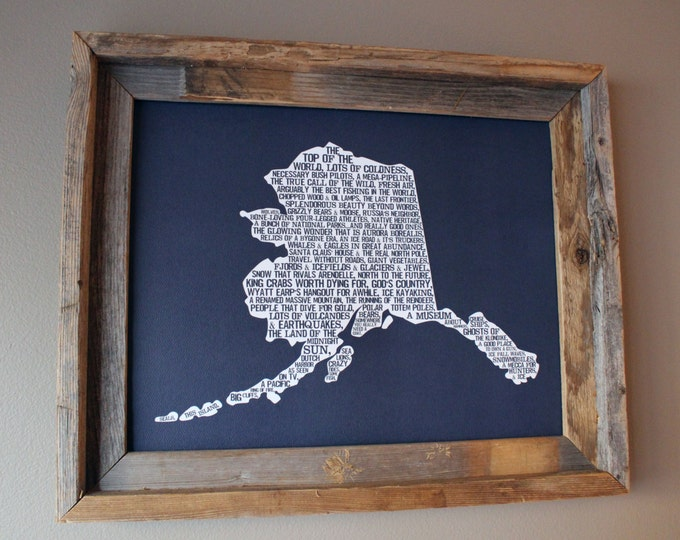 Alaska In A Nutshell Word Art Map Print (Dark Blue) - Unframed