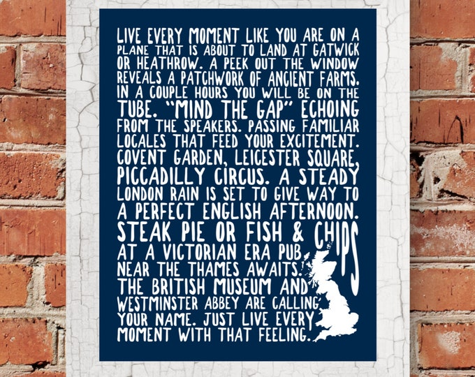 London England Fine Art Word Print (Blue) - Unframed (5 x 7, 8 x 10, 11 x 14, 16 x 20, 18 x 24, 24 x 36 and more)
