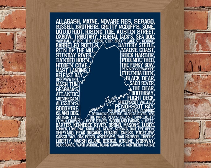 Beers of Maine Word Map (Dark Blue) Fine Art Print - Unframed (11 x 14, 22 x 28)