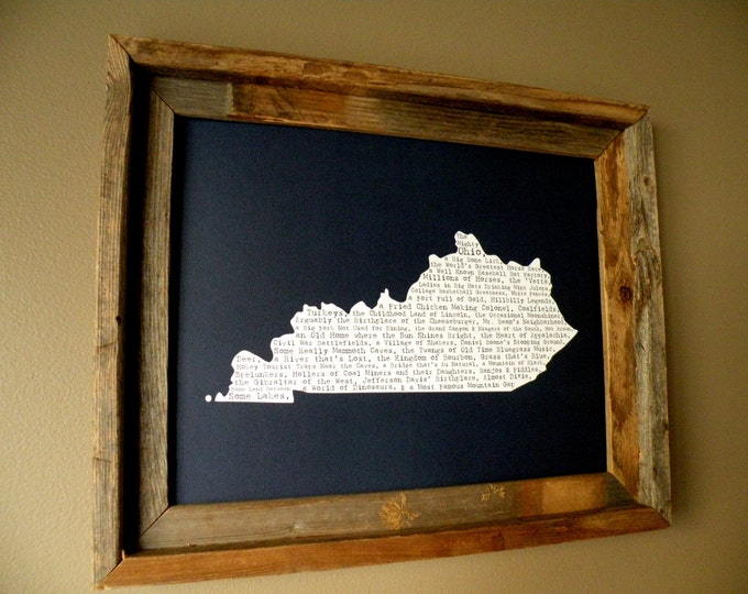 Kentucky In A Nutshell Word Art Map Print (Dark Blue) - Unframed