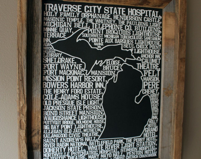Haunted Michigan Word Map (Black) - Unframed