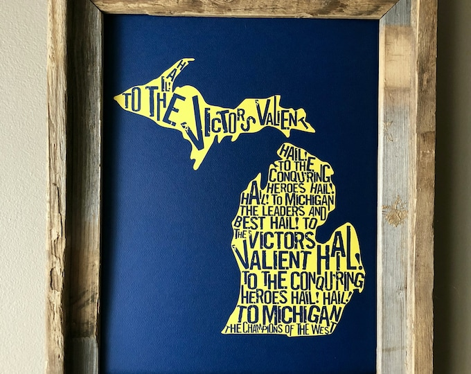 Hail to the Victors - Michigan Fight Song - Word Art (Maize & Blue) - Unframed