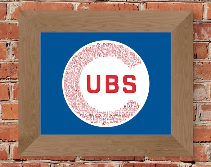Chicago Cubs 2016 World Series Game 7 Word Art Print (Blue & Red) -Unframed (8 x 10, 11 x 14, 16 x 20, 16 x 24, 18 x 24, 24 x 36, and more!)