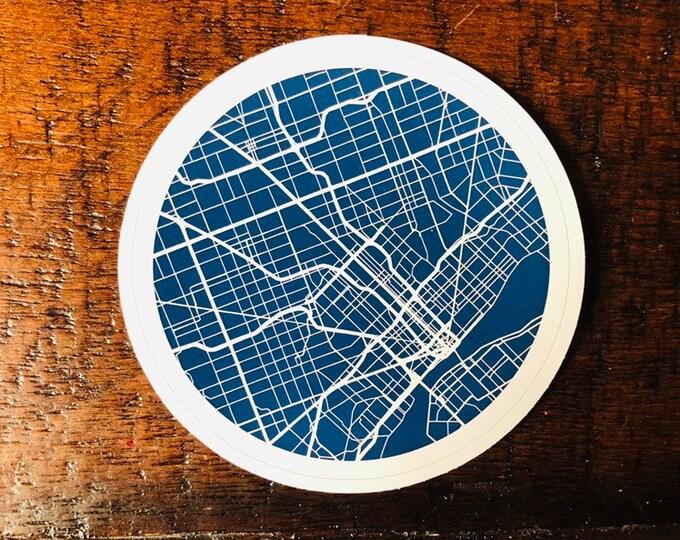 Detroit Map Vinyl Sticker (Blue/White)