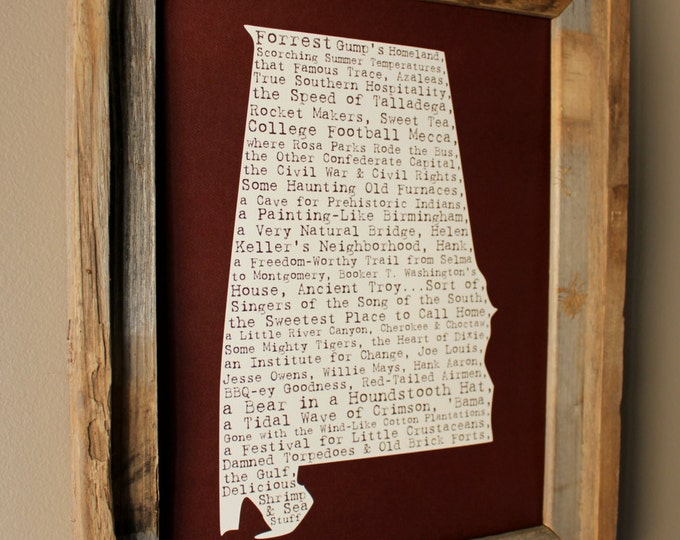 Alabama In A Nutshell Word Art Map Print (Crimson) - Unframed