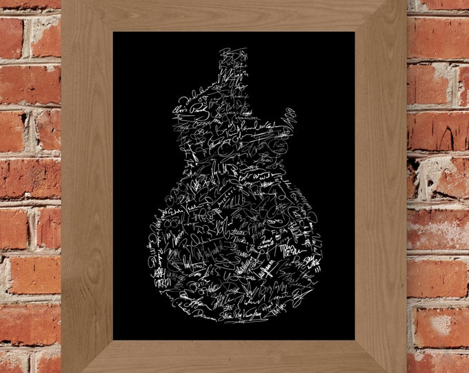 Signatures of Rock and Roll History (Black) Fine Art Print - Unframed