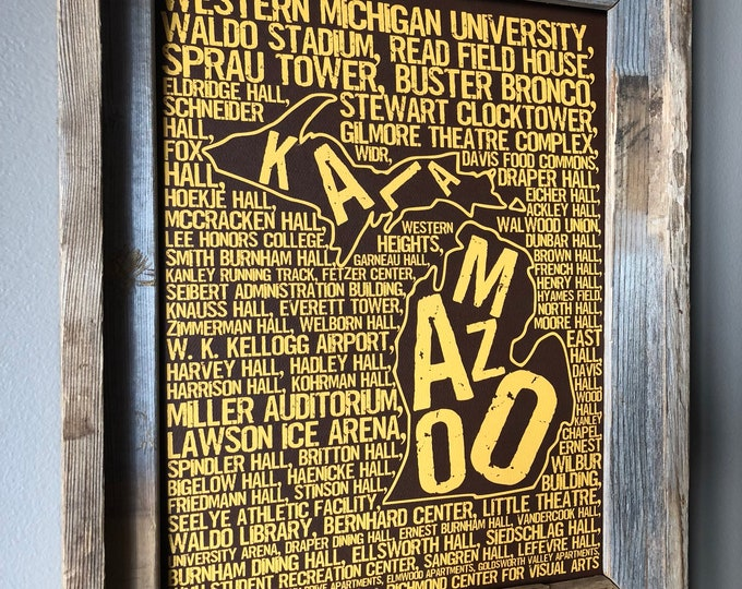 Kalamazoo Michigan - Western Michigan University - Whimsical College Word Map (Brown & Gold) - Unframed