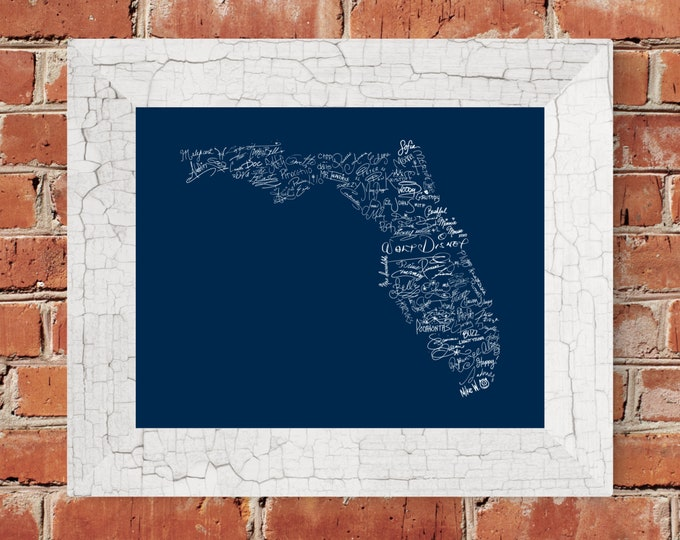 Signatures of the Happiest Place on Earth Fine Art Print - Florida (Blue) - Unframed (5x7, 8x10, 11x14, 16x20, and more)