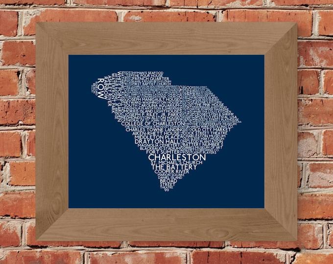 Charleston South Carolina Word Map (Blue) Fine Art Print - Unframed (8 x 10, 11 x 14, 16 x 20, 18 x 24, 24 x 36, and more)