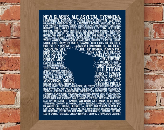 Beers of Wisconsin Word Map Fine Art Print (Dark Blue) - Unframed (11x14, 22x28)