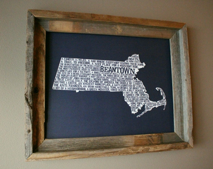 Boston In A Nutshell Word Art Map Print (Dark Blue) - Unframed