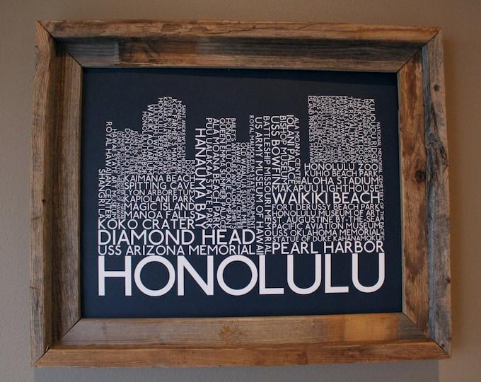 Honolulu Skyline Word Art Print (Dark Blue) - Unframed