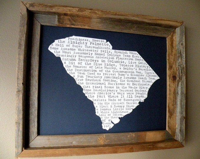 South Carolina In A Nutshell Word Art Map Print (Dark Blue) - Unframed