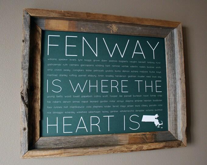 Fenway Is Where The Heart Is Word Art Print (Fenway Green) - Unframed