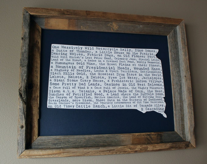 South Dakota In A Nutshell Word Art Map Print (Dark Blue) - Unframed