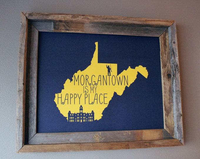Morgantown is my Happy Place - West Virginia University - Map Print (Blue & Gold) - Unframed