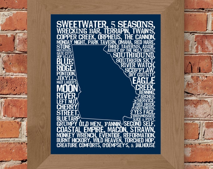 Beers of Georgia Word Map (Dark Blue) Fine Art Print - Unframed