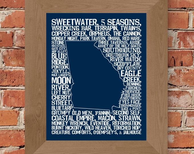 Beers of Georgia Word Map (Dark Blue) Fine Art Print - Unframed (11 x 14, 22 x 28)