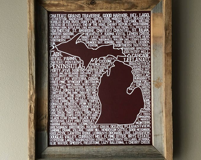 Wines of Michigan Word Map - unframed