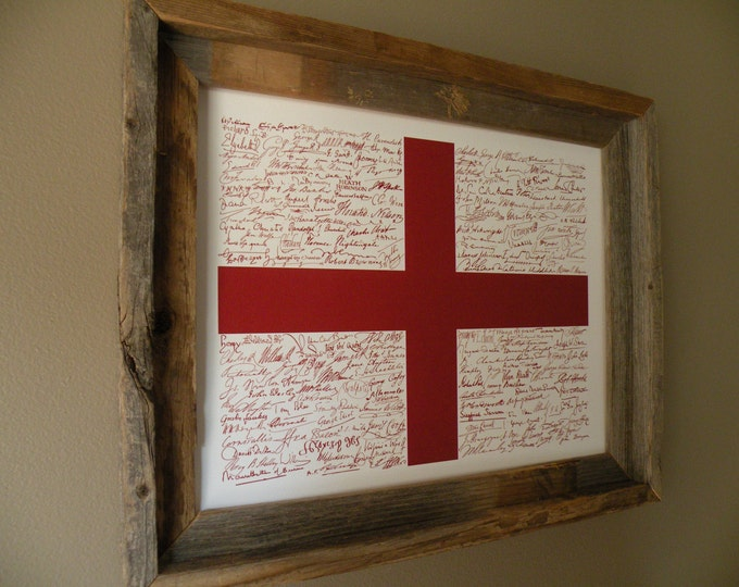 Signatures of English History St. George's Cross Flag Print - Unframed