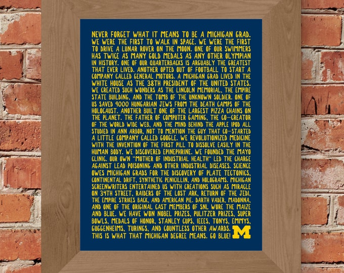 University of Michigan Graduate Fine Art Word Print (Blue) - Unframed