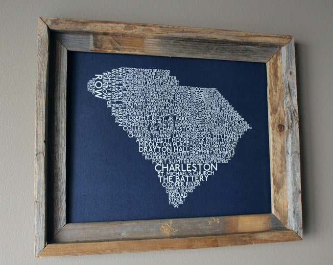 Charleston South Carolina Word Map (Dark Blue) - Unframed