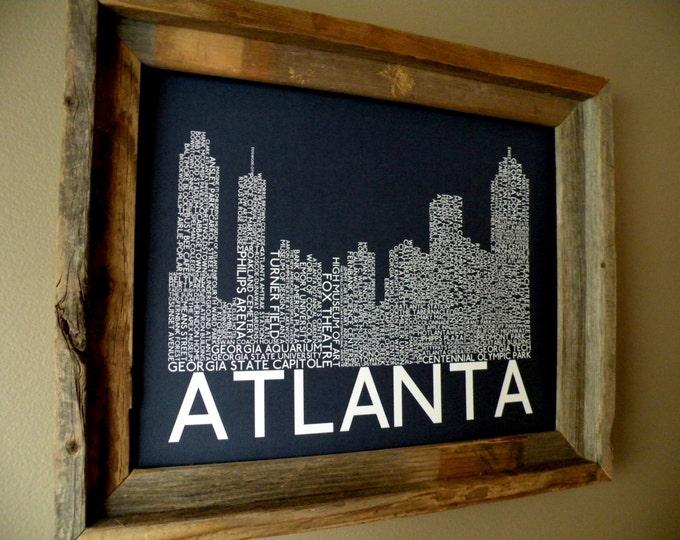Atlanta Skyline Word Art Print (Dark Blue) - Unframed