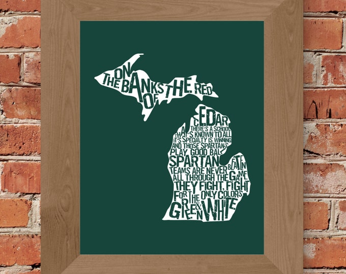 The Banks of the Red Cedar - Michigan State Fight Song - Word Art Print (Green & White) - Unframed