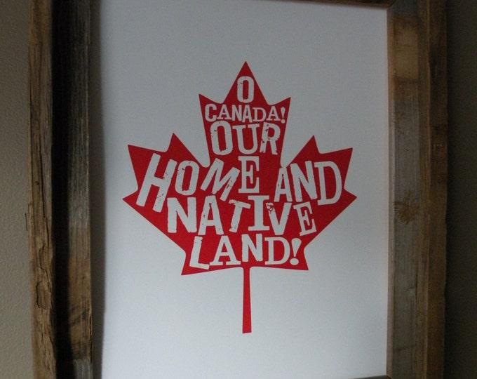 O Canada Map Print - Unframed
