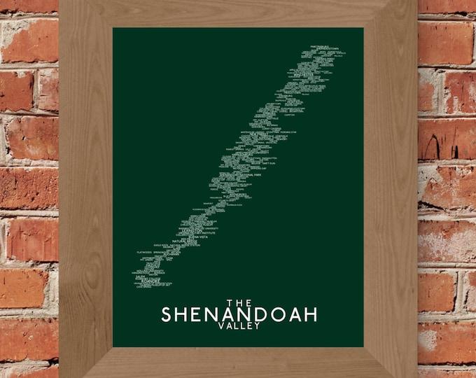 The Shenandoah Valley Word Map (Dark Dark Green) - Unframed