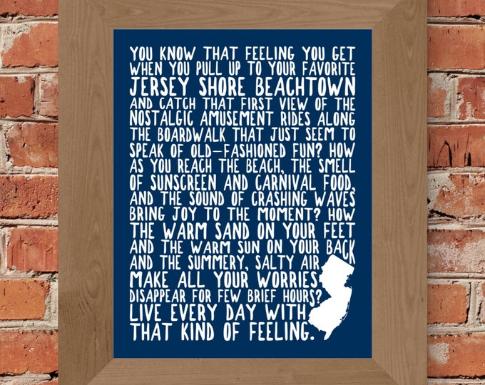 Jersey Shore Fine Art Word Print (Blue) - Unframed