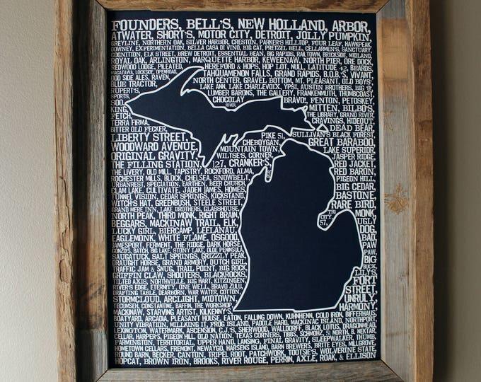 Beers of Michigan Word Map (Dark Blue) - Unframed