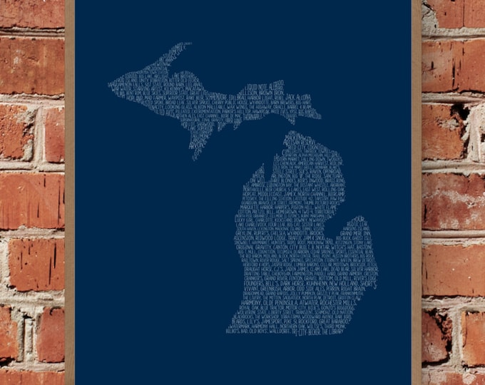 Michigan Beers Word Map (Blue) Fine Art Print - Unframed