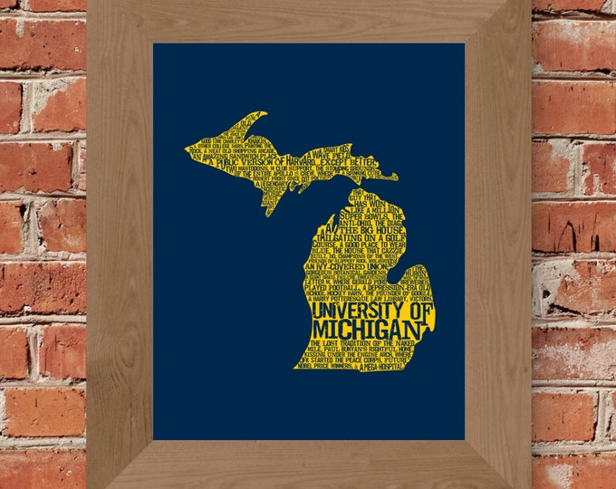 University of Michigan in a Nutshell (Maize & Blue) Fine Art Print - Unframed  (5x7, 8x10, 11x14, 24x36, and more sizes available)