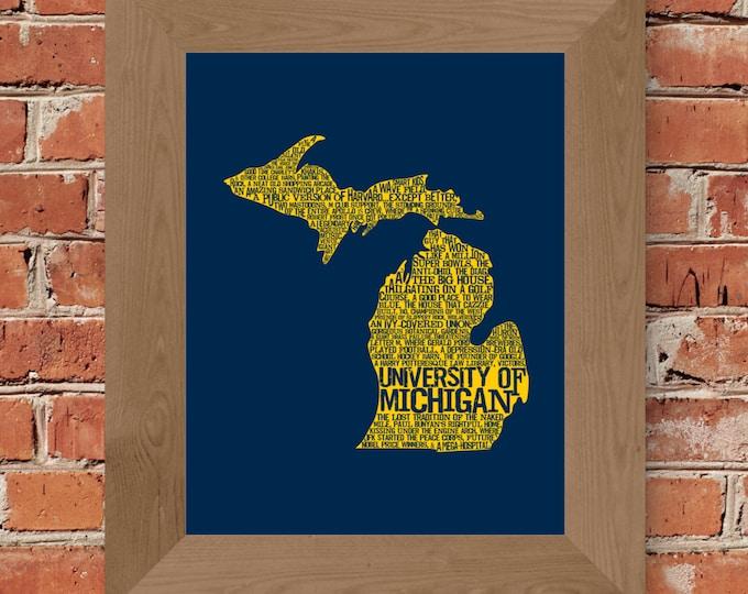 University of Michigan in a Nutshell (Maize & Blue) Fine Art Print - Unframed