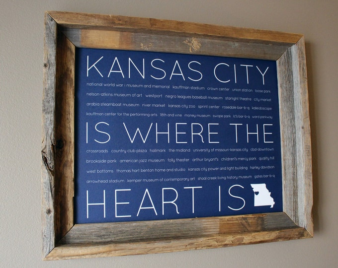 Kansas City Is Where The Heart Is Word Art Print (Blue) - Unframed