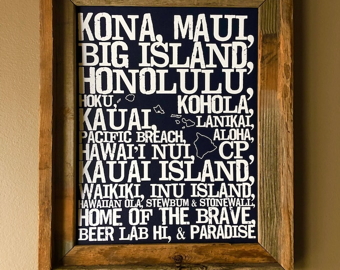 Beers of Hawaii Word Map (Dark Blue) - Unframed