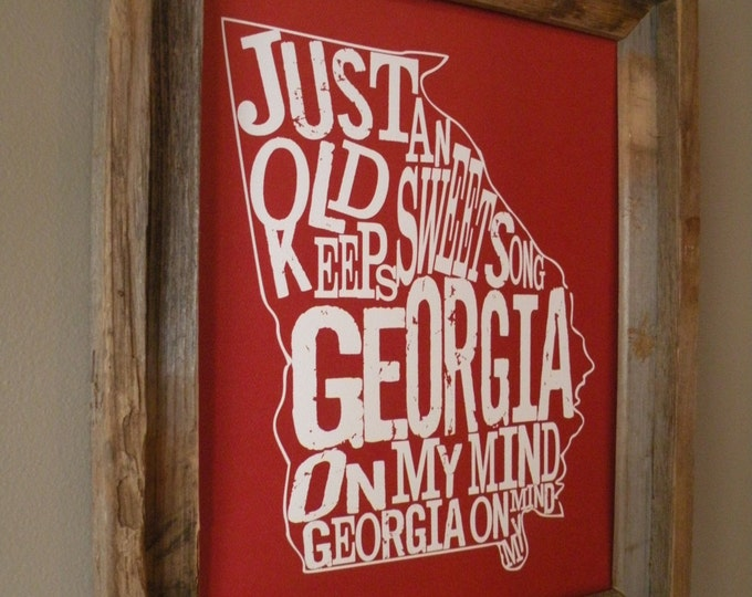 Red Georgia On My Mind Map Print - Unframed