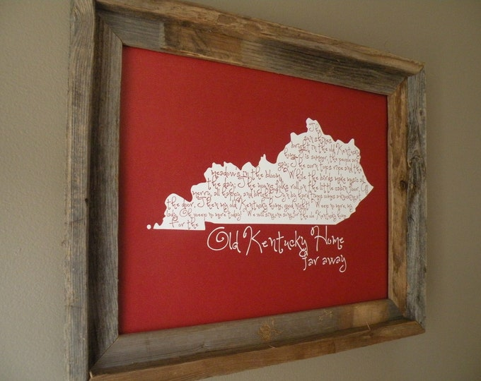 My Old Kentucky Home 11x14 Red Map Print - Unframed