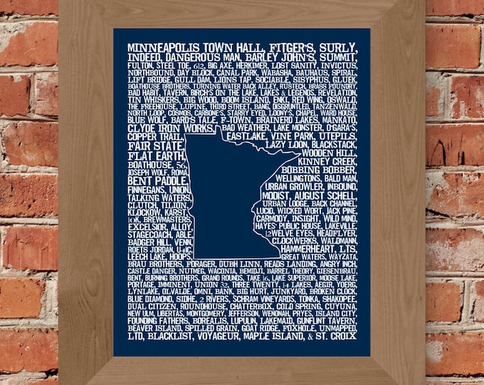 Beers of Minnesota Word Map (Dark Blue) Fine Art Print - Unframed