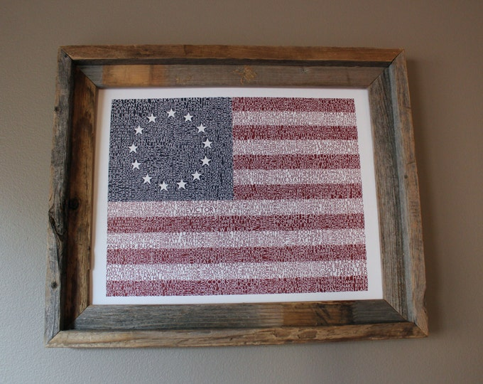 Beers of the USA American Flag Word Art - Unframed