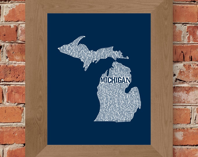 Michigan In A Nutshell Word Art Map Fine Art Print (Dark Blue) - Unframed