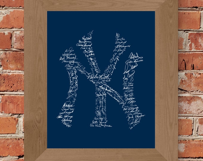 Signatures of Yankees History (Dark Blue) Fine Art Print - Unframed (8 x 10, 11 x 14, 16 x 20, 18 x 24, 24 x 36, and more!)