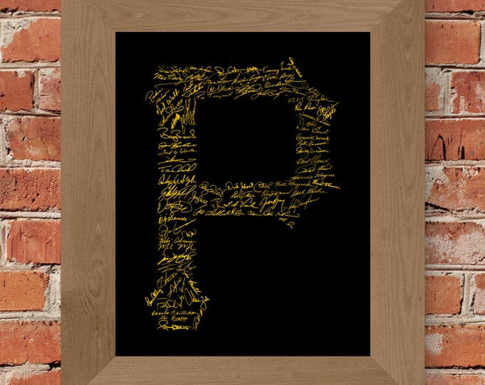 Signatures of Pittsburgh Pirates History (Black & Yellow) Fine Art Print - Unframed (8 x 10, 11 x 14, 16 x 20, 24 x 36, and more)