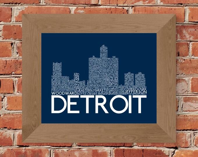Detroit Skyline Word Art Print (Dark Blue) - Unframed (8x10, 11x14, 16x20, 18x24, 24x36, and more!)